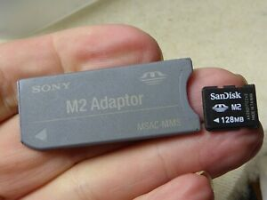 Sony Memory Stick Duo Adaptor  MSAC-M2 + 128mb me memory card