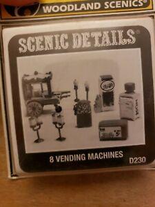 HO scale Woodland Scenics Scenic Details D230 Vending Machines (8) NEW