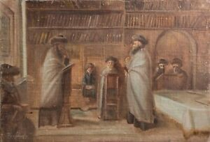 Old Russian Judaica/Jewish Scene. Oil painting - signed lower left