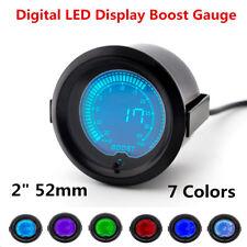 """2"""" 52mm Car Digital LED Turbo Boost Vacuum Pressure Gauge Meter 35 Psi 7 Colors"""
