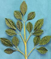 SILK 15 Leaf Spray GREEN 17x28mm with Wire Stems 235mm Long Green Tara E
