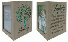 """Family Tree Wooden 4""""x 6"""" Collage Photo Picture Frame LED Light Colour Change"""