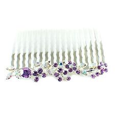 Hair Comb Austrian RhinestoneCrystal Hairpin Bridal Wedding Silver Purple 1-7