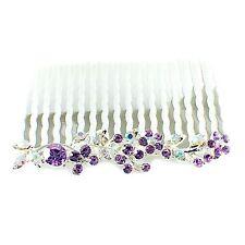 Hair Comb Austrian RhinestoneCrystal Hairpin Bridal Wedding Silver Purple 1-7