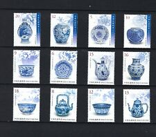 China Taiwan 2014 2018 2019 Blue White Porcelain Ancient  Art Treasures stamps