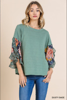 UMGEE Size M Floral Animal Print Sheer Bell Ruffle Sleeve Round Neck Top NWT