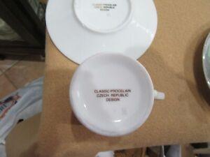 6 CZECH PORCELAIN DEMITASSE ESPRESSO COFFEE CUPS & SAUCERS WHITE & SILVER L11.20