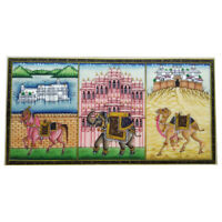 "Painting 3"" X 6"" Horse Camel Elephant Handmade Fine Miniature India Artwork"