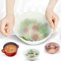 4er Set wiederverwendbare Silicon Wraps Cover Stretch und Küche Frischhalte Z1Q9