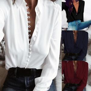 ZANZEA 8-24 Women Autumn Button Down Shirt Top Office Work OL Long Sleeve Blouse