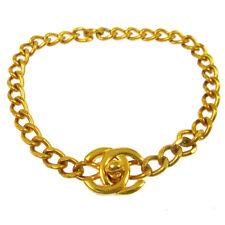 Authentic Chanel Vintage Cc Turnlock Motif Gold Chain Anklet Bracelet Rk13536b