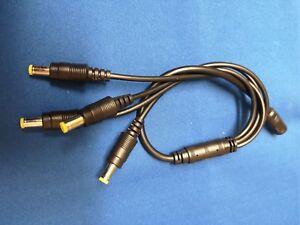 DC Power Lead Splitter - 4 way 2.1mm x 5.5mm Plugs & Socket 9-12v dc