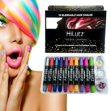HAIR GIFT HAIR CHALK FACE PAINT MAKE UP SET 10 CRAYONS + 3 GLITTERS + COMB