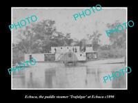 OLD LARGE HISTORIC PHOTO OF ECHUCA VIC, THE PADDLE STEAMER TRAFALGAR c1890
