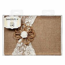 Nwt Burlap & Lace Guest Book by David Tutera 4 Rustic Yet Elegant Wedding 9""
