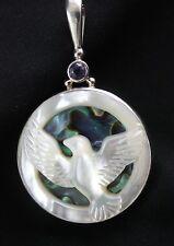 Sajen MOP Bird Abalone, Amethyst Double Sided Pendant Sterling Silver .925