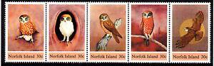 1984 Norfolk Island Boobook Owl - MUH Strip of 5
