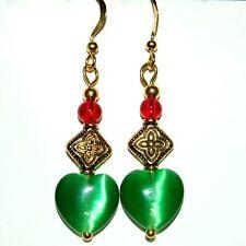 Lovely Christmas Red Green Heart Gold Plate PIERCED EARRINGS D10 FAST SHIPPING!