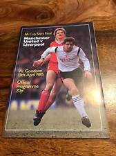 MANCHESTER UNITED V LIVERPOOL 1985 FA CUP SEMI FINAL PROGRAMME MINT FREE POST