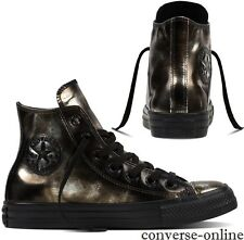 Womens CONVERSE All Star BRUSH OFF LEATHER HI TOP BLACK Trainers Boots SIZE UK 8
