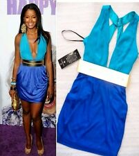 NWT BEBE blue two tone deep v neck bobbie gold belt cross back top dress S small