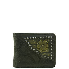 BLACK WESTERN VEGAN LEATHER .38 BULLET EMBLEM MENS BIFOLD ID WALLET WEST WOLF