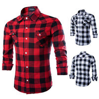 Men's Stylish Slim Long Fit Sleeve Plaid Shirt Two Pockets Dress Casual Shirts
