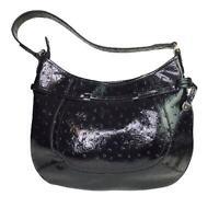 Liz Claiborne Hobo Bucket Bag Purse Handbag Black Zip Closure Gold Hardware