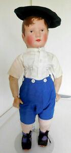"""Antique 18"""" Heine & Schneider Cloth Oilcloth Boy Kathe Kruse / Bing Type"""