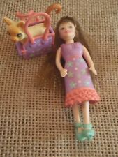 Polly Pocket Doll Girl and Pet Cat Matching Purple Outfits Dresses M71