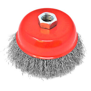 4'' Carbon Crimp Wire Cup Brush for grinders 5/8-11'' arbor Universal Fit XTH003