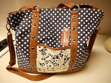 Arizona Tote Hand Bag Navy Polka Dot NWT $65