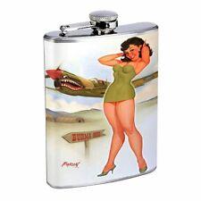 Pin Up Girl Cartoon Airplane D27 8oz Flask Stainless Steel Green Mini Dress