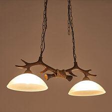Retro Industrial Glass Lamp Shade Chandelier Antler Resin Double Head Lighting