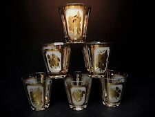 6 Old Fashioned Barware Glasses Gold Fruit Design signed Georges Briard .