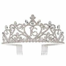 Sweet 16 Tiara 16th Birthday Party Accessories Supplies, Crown Silver (16 Heart)