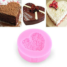 Heart Love Shaped Silicone Chocolate Lace Fondant Cake Mould Soap Mold Decor BE