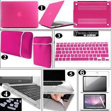 Bundle 6 in 1 Rubberized Hardshell Case Pouch UK Keyboard Skin For Apple Macbook