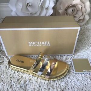 Michael Kors KEIKO Metallic SLIDE SANDALS Shoes GOLD/SILVER  Size #5 -New -