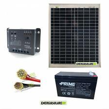 Kit pannello solare fotovoltaico 20W 12V batteria 7Ah cavi 2.5mmq PVC