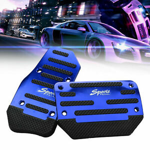 2X Blue Non Slip Automatic Gas Brake Foot Pedal Pad Cover Car Accessories Kit