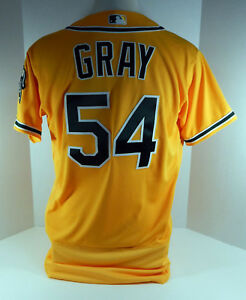 2017 Oakland Athletics A's Sonny Gray #54 Game Issued Gold Jersey