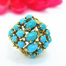 Vintage genuine Turquoise Cluster Ring 14 K yellow gold 18.50 ctw size 9