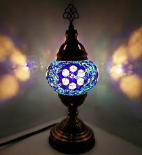 AUCTION - Turkish Moroccan Colorful Lamp Tiffany Style Glass Desk Table. -