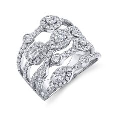 Layer Cocktail Right Hand Ring Womens 14K White Gold Diamond Crossover Multi