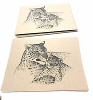"""Cheetah & Cub Animal Greeting Cards(8) 5.5""""x4"""" Brown Recycled Paper Stationary."""