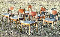 SET OF 6 MID CENTURY MODERN DANISH WALNUT DINING CHAIRS-5 SIDE-1 ARMCHAIR