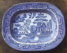 More details for antique blue willow pattern serving dish, platter, large 45x36cm, victorian era