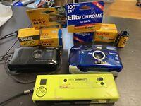 Vintage Camera Lot With Unused Kodak Film Cannon Esprit Samsung Concord Neon