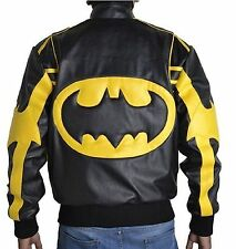 Batman Black & Yellow Men's Motorcycle Leather Jacket - All Sizes Available